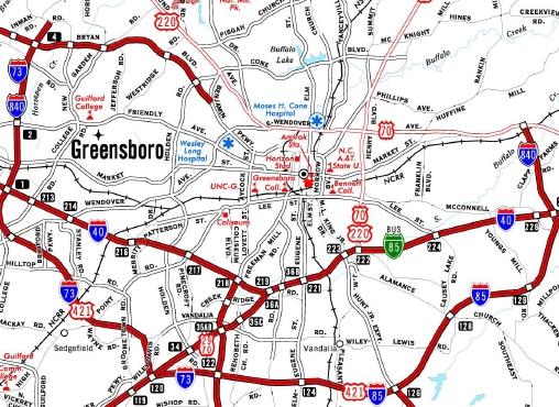 NCRoadscom I - Us 220 map